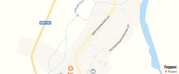 Центральная улица на карте села Дюсяново с номерами домов