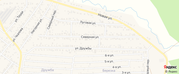 Северная улица на карте села Николо-Березовки с номерами домов