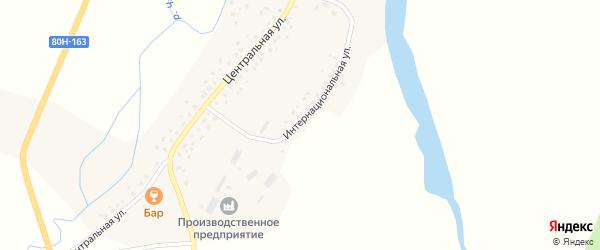 Интернациональная улица на карте села Дюсяново с номерами домов