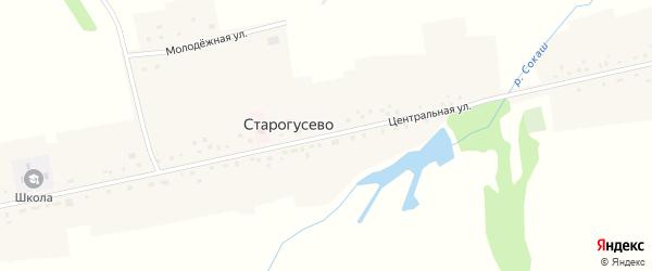 Центральная улица на карте села Старогусево с номерами домов