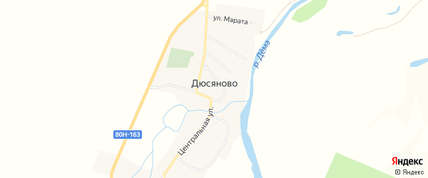 Карта села Дюсяново в Башкортостане с улицами и номерами домов