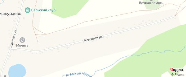 Нагорная улица на карте села Бишкураево с номерами домов