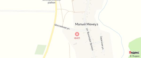 Шоссейная улица на карте села Малого Менеуза с номерами домов