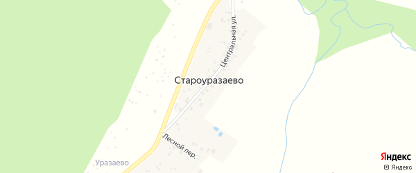 Центральная улица на карте деревни Староуразаево с номерами домов