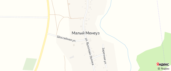 Заречная улица на карте села Малого Менеуза с номерами домов