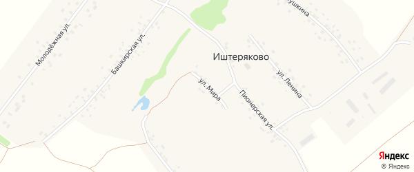 Улица Мира на карте деревни Иштеряково с номерами домов