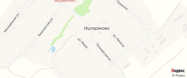 Пионерская улица на карте деревни Иштеряково с номерами домов