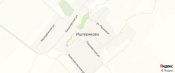 Карта деревни Иштеряково в Башкортостане с улицами и номерами домов