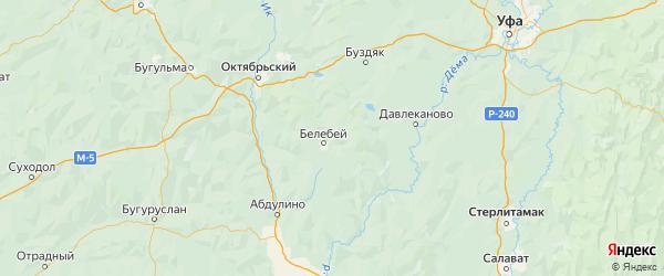 Карта Белебеевского района республики Башкортостан с городами и населенными пунктами