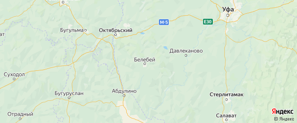 Карта Белебеевского района республики Башкортостан с населенными пунктами и городами