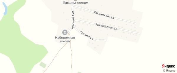 Степная улица на карте деревни Набережного с номерами домов