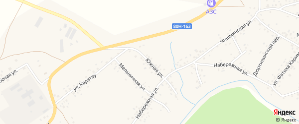 Южная улица на карте села Аитово с номерами домов