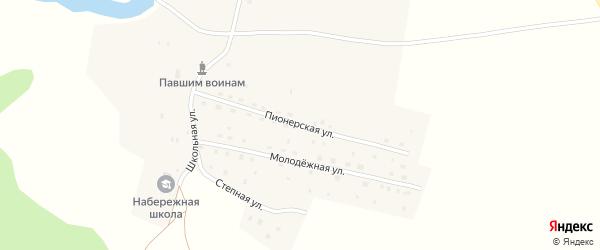 Пионерская улица на карте деревни Набережного с номерами домов