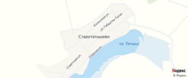 Карта села Старотатышево в Башкортостане с улицами и номерами домов