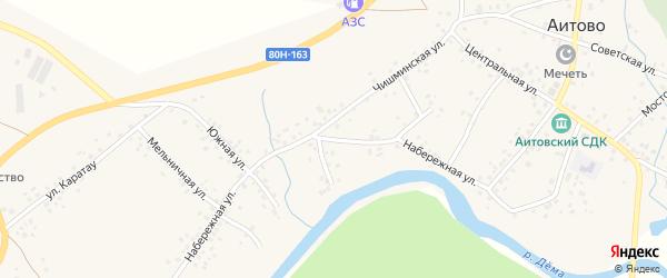 Набережная улица на карте села Аитово с номерами домов