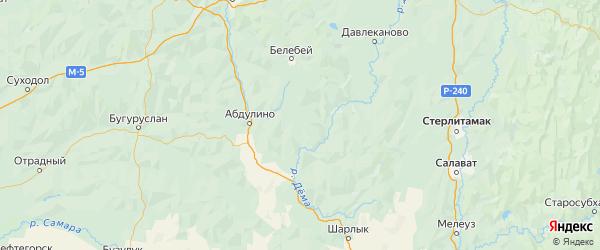 Карта Бижбулякского района республики Башкортостан с городами и населенными пунктами
