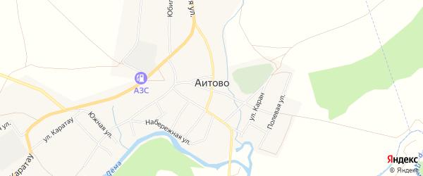 Карта села Аитово в Башкортостане с улицами и номерами домов