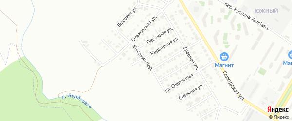 Высокий переулок на карте Нефтекамска с номерами домов