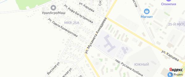Улица Мухамета Ахмадеева на карте Нефтекамска с номерами домов