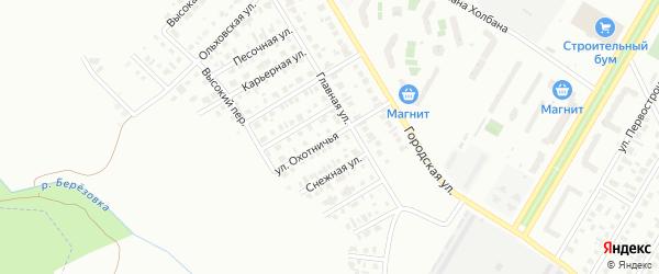 Охотничья улица на карте Нефтекамска с номерами домов