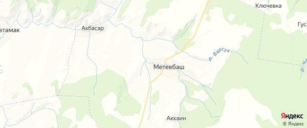 Карта Метевбашевского сельсовета республики Башкортостан с районами, улицами и номерами домов
