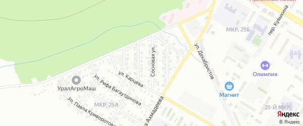 Сосновая улица на карте Нефтекамска с номерами домов