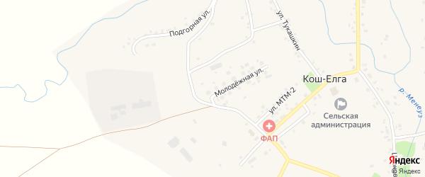 Улица Давыдвар на карте села Коша-Елги с номерами домов
