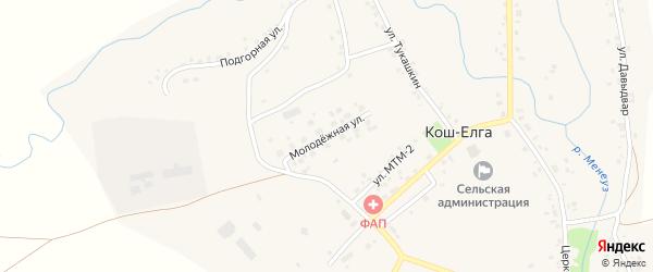 Молодежная улица на карте села Коша-Елги с номерами домов