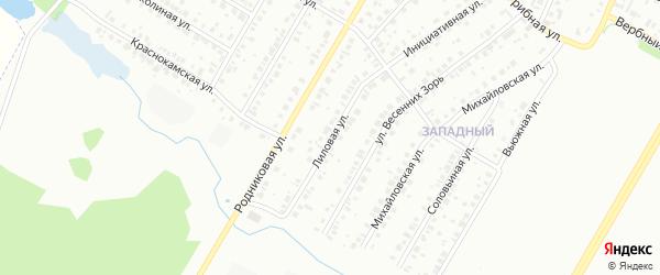Лиловая улица на карте Нефтекамска с номерами домов