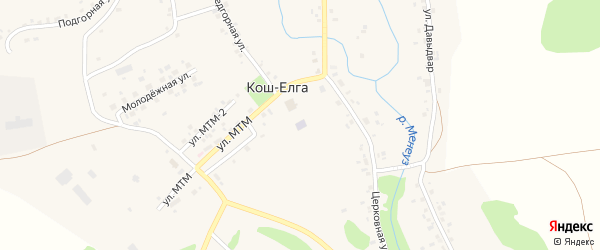 Улица МТМ 1 на карте села Коша-Елги с номерами домов