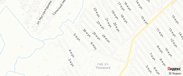 26-я улица на карте СНТ Арлана западной стороны с номерами домов