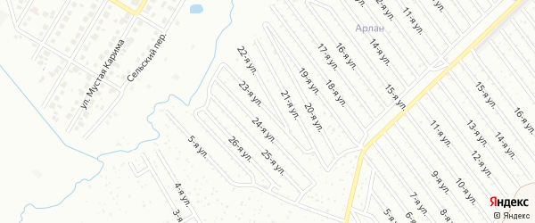 23-я улица на карте СНТ Арлана западной стороны с номерами домов