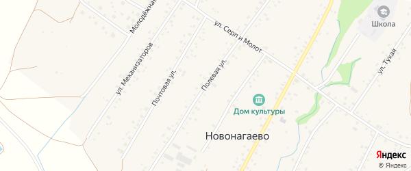 Полевая улица на карте села Новонагаево с номерами домов