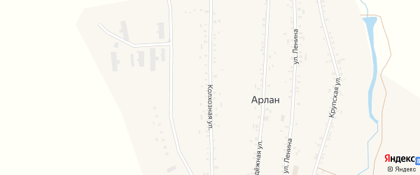 Колхозная улица на карте села Арлана с номерами домов