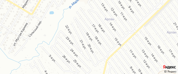 19-я улица на карте СНТ Арлана западной стороны с номерами домов