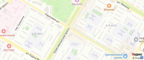 Парковая улица на карте Нефтекамска с номерами домов
