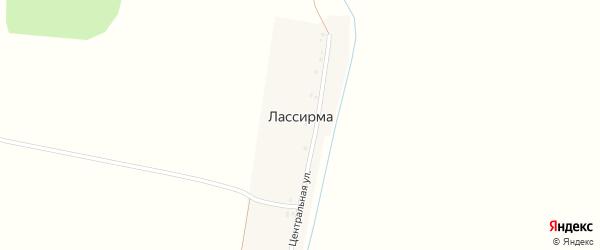 Центральная улица на карте деревни Лассирмы с номерами домов