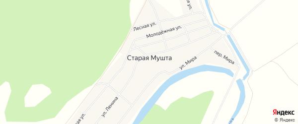 Карта села Старой Мушты в Башкортостане с улицами и номерами домов