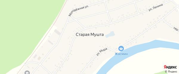 Переулок Мира на карте села Старой Мушты с номерами домов