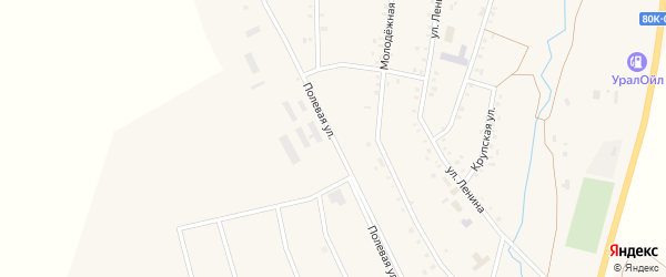Полевая улица на карте села Арлана с номерами домов