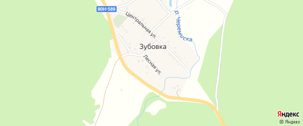 Лесная улица на карте деревни Зубовки с номерами домов