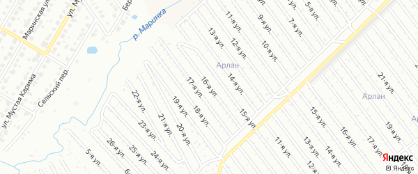 16-я улица на карте СНТ Арлана западной стороны с номерами домов
