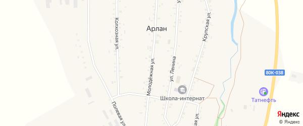 Молодежная улица на карте села Арлана с номерами домов