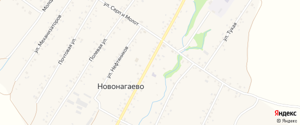 Колхозная улица на карте села Новонагаево с номерами домов