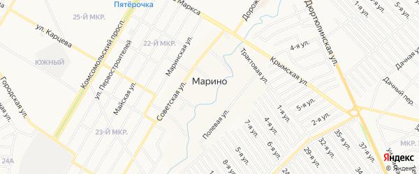 СНТ Рассвет на карте деревни Марино с номерами домов