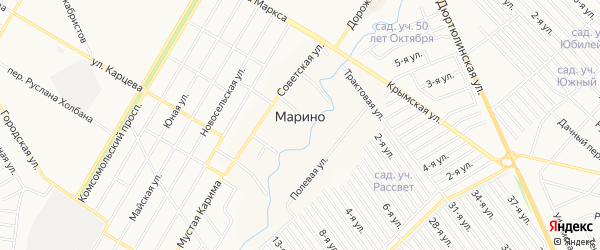СНТ Дружба НГДУ ЮАН на карте деревни Марино с номерами домов