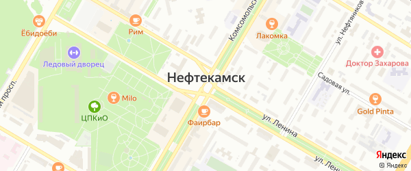 Лесопарковый переулок на карте Нефтекамска с номерами домов