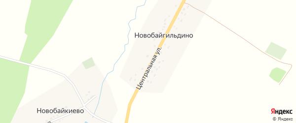 Центральная улица на карте деревни Новобайгильдино с номерами домов