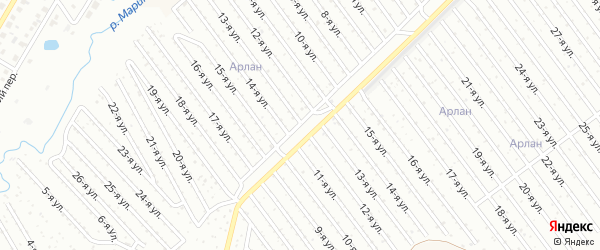 13-я улица на карте СНТ Восхода НГДУ с номерами домов
