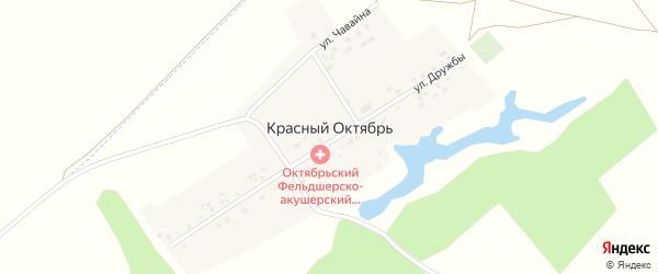 Улица Чавайна на карте деревни Красного Октября с номерами домов